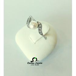 Sortija oro blanco con perla
